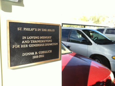 Dedication plaque at St. Philip's solar installation