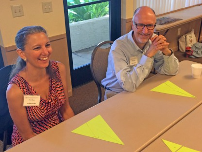 Ellen Duax and Greg Foraker celebrate meeting the triangle challenge. (If you think this looks easy, guess again.)