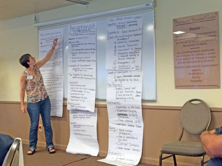 Katie McCallister summarizes a position description created by a breakout group. From left to right: Position descriptions for a youth leader, receptionist, and board member.