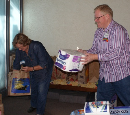 Cameron and Diana preparing Care Packages